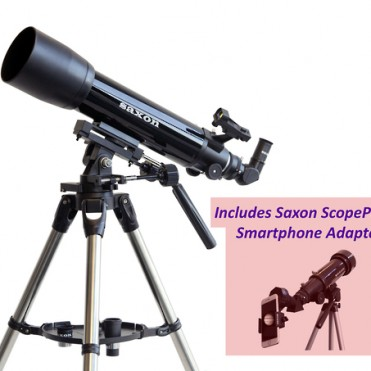 Saxon 1026 AZ3 SC Refractor Telescope with Steel Tripod and ScopePix Smartphone Adapter